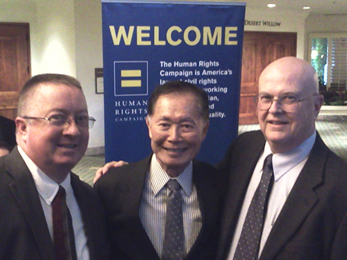 Joe Connolly and Terry Pochert with George Takei