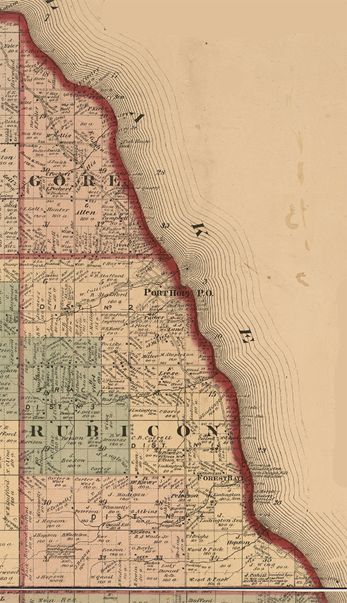 Gore and Rubicon Townships in the State of Michigan - 1875 Map